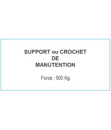Plaque : CROCHET DE MANUTENTION 500Kg