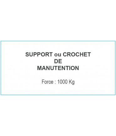 PLAQUE CROCHET MANUT. 1000KG DIM: 140MM X 90 MM